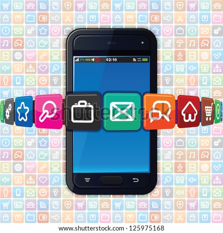 Smart phone with Apps Icons - stock photo