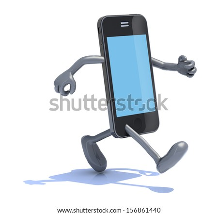 smart phone with arms and legs that runs, 3d illustration - stock photo