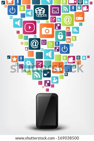 Smart phone with arrow social media icons - stock photo