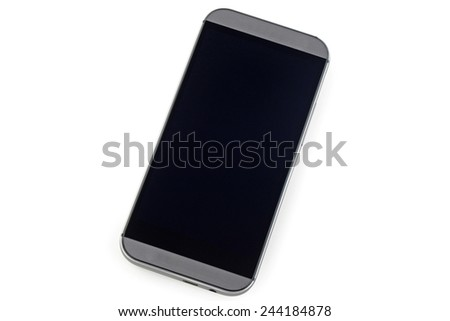 Smart phone with black screen isolated on white background - stock photo