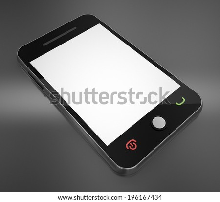 Smart Phone with blank white screen - stock photo