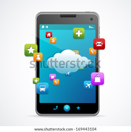 Smart Phone With blue screen Cloud-computing connection