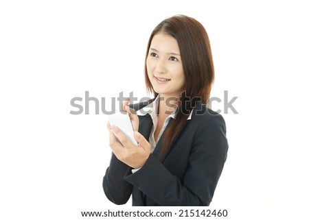 Smart phone with business woman.