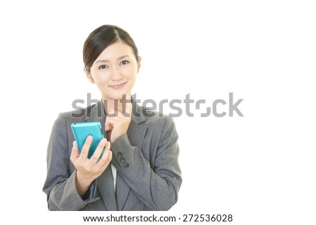 Smart phone with business woman. - stock photo