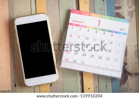 smart phone with calendar 2017