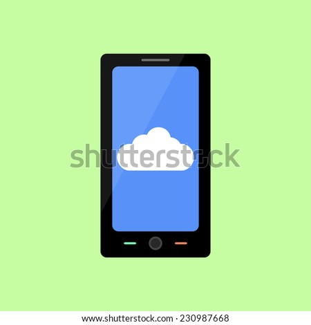 Smart phone with cloud  icon in flat style