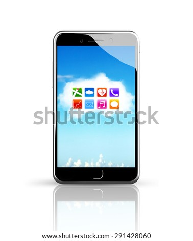 Smart phone with colorful app icons on white cloud touchscreen, white background. - stock photo