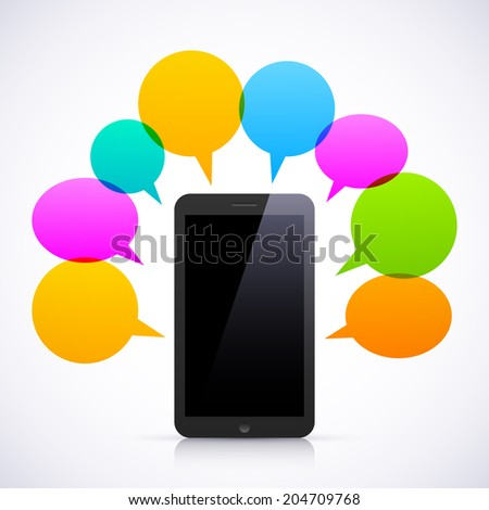 Smart phone with colorful speech bubbles. - stock photo
