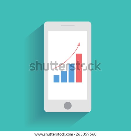 Smart phone with increasing bar chart on the screen. Using smartphone for business, flat design concept - stock photo