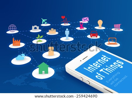 Smart phone with Internet of things (IoT) word and objects icon connecting together,Internet networking concept - stock photo
