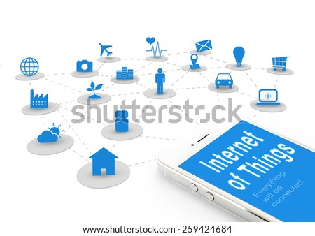 Smart phone with Internet of things (IoT) word and objects icon,Internet networking concept - stock photo