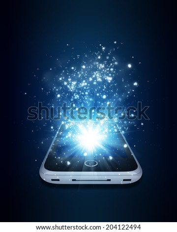 Smart phone with magic light and falling stars. Dark background - stock photo