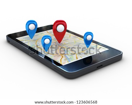 Smart phone with map and geolocation. 3d rendering image with clipping path - stock photo