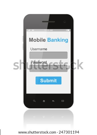Smart phone with mobile banking login form ui element on its screen isolated on white background  - stock photo