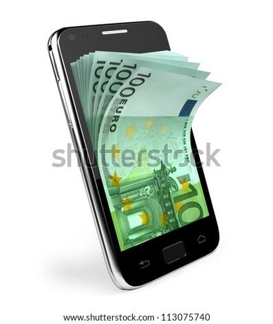 Smart phone with money concept. - stock photo