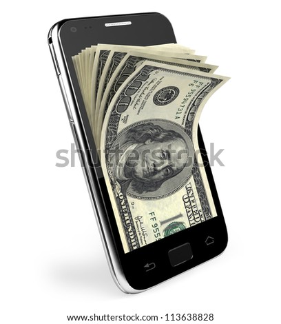Smart phone with money concept. Dollars. - stock photo