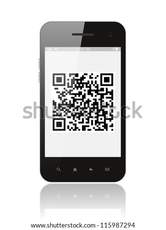 Smart phone with QR code on white background - stock photo