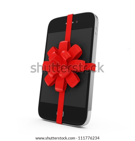 Smart Phone with Red Ribbon and Bow isolated on white background - stock photo