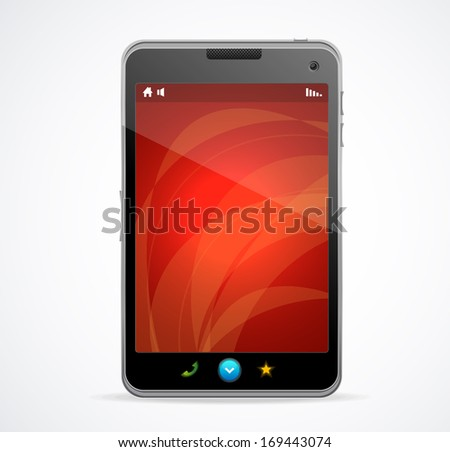 Smart Phone With red screen and text - stock photo
