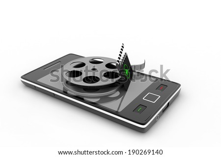 Smart phone with reel - stock photo