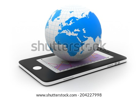 smart phone with world - stock photo