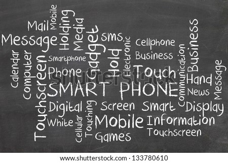 smart phone word cloud on blackboard