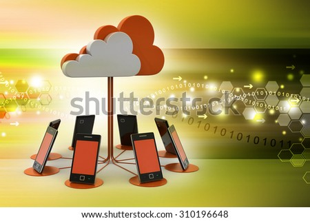 Smart phones network with cloud computing in color background - stock photo