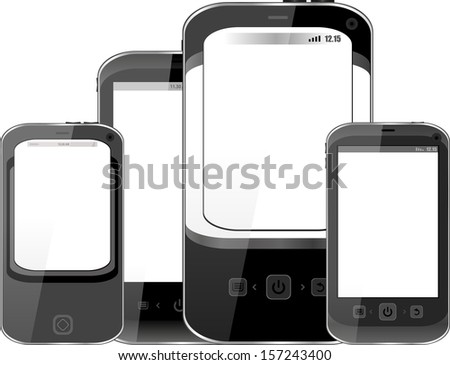 Smart Phones set isolated on white background, digital mobile smarphone, raster