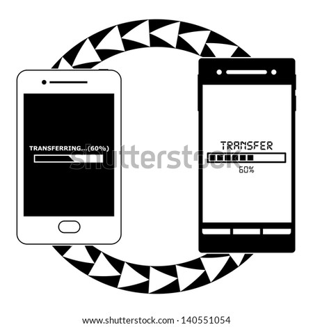 Smart phones Transferring Files from One Another (Black and White) - stock photo