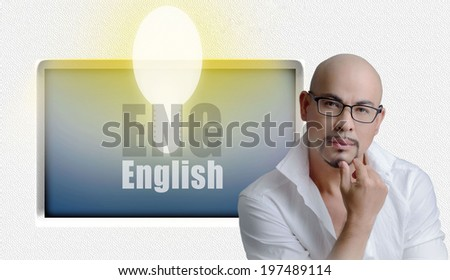 smart professional teacher thinking study english ,	lamp bright light cool school in studio background behind show his hands finger thumb - stock photo