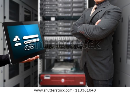 Smart Programmer and Login window for security in data center room - stock photo