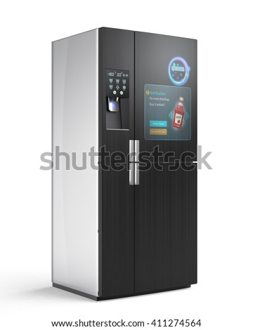 """Smart refrigerator concept. The screen on the door displaying push information, for example """"no ketchup"""", user can buy online just touch button on the door. 3D rendering image. - stock photo"""