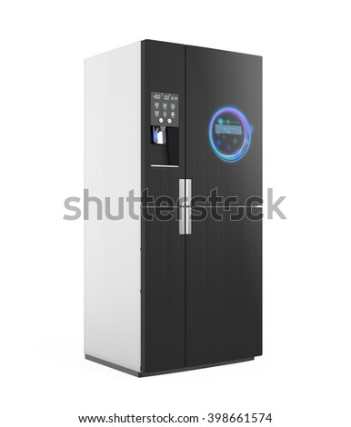 Smart refrigerator with ice dispenser function. User can touch icon on the door to discover more information of food and drink inside. 3D rendering image with clipping path.