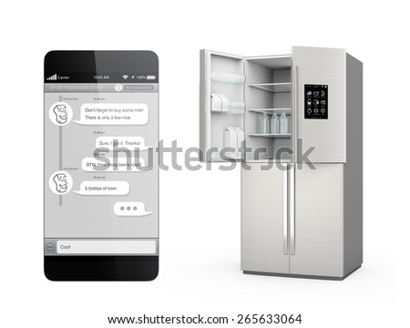 Smart refrigerator with LCD screen for monitoring. User can chat to refrigerator by smartphone chat app. Concept  of IoT. Original design. Clipping path available. - stock photo