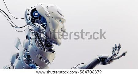 Smart Robot Unique Neck Structure Stretched Stock Illustration ...