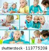 Smart schoolboy and twin girls drawing - stock photo