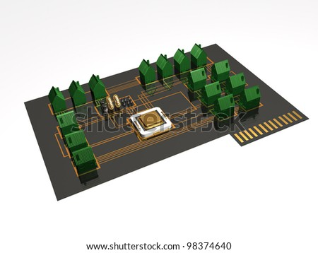 Smart settlement - homes, processor and electronic components on the plate.