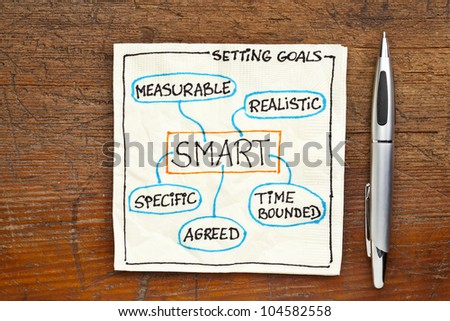 SMART ( specific, measurable, agreed, realistic, time-bound) goal setting concept - a napkin doodle on a grunge wooden table - stock photo