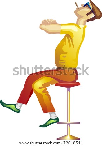 smart strong man sitting on a chair and smoking cigar - stock photo