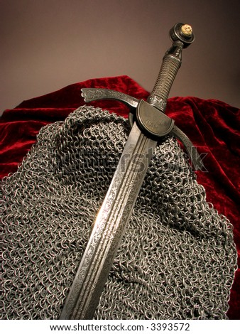 Smart sword of the knight of the Middle Ages - stock photo