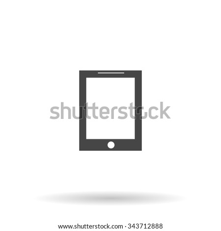 Smart tablet. Flat icon on grey background with shadow - stock photo