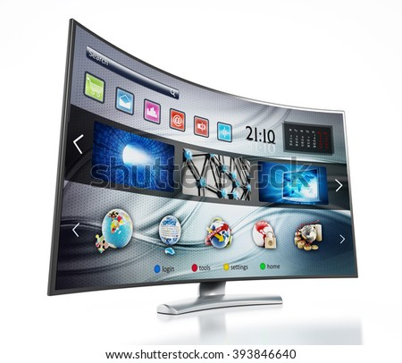Smart TV with fictitious interface design showing main screen