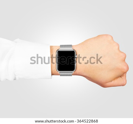 Smart watch blank screen mock up wear on the hand isolated on gray. Steel metallic hand clock mockup metal band. Smartwatch design presentation empty display template.  - stock photo