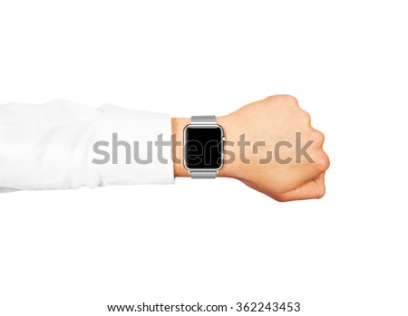 Smart watch blank screen mock up wear on the hand isolated. Steel metallic hand time clock mockup metal band. Smartwatch design presentation empty display template.