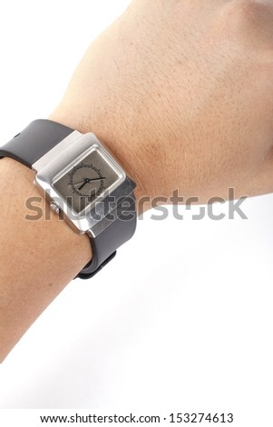 Smart watch in wrist isolated on white background