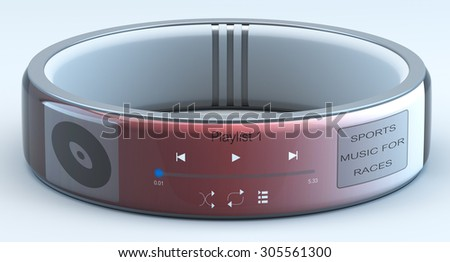 smart watch music player isolated on a blue background