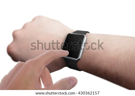 Smart watch on hand with blank screen for mockup. Isolated white scene.