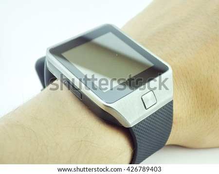 Smart watch on hand with white background