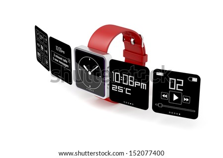 Smart watch on white background - stock photo