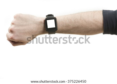 Smart watch on wrist with clipping path